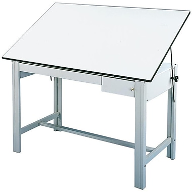 Alvin® White Top Table, 2 Drawers 37.5
