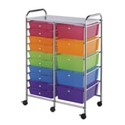 Alvin® Storage Cart 15-Drawer, Standard And Deep, Multi-Coloured (SC15MCDW)