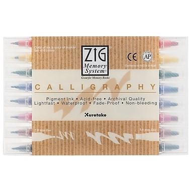 Zig - Marqueurs de calligraphie, 8 couleurs (MS-3400/8V)