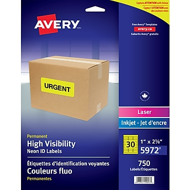 Avery® Neon Yellow Laser High Visibility Labels, 2-5/8