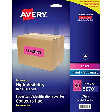 Avery® 5970 Étiquettes voyantes, magenta fluo, laser, 2-5/8