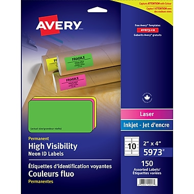 Avery® High Visibility Assorted Neon Laser Labels, 4