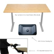 "Uncaged Ergonomics 60"" Rise Up Electric Adjustable Sit Stand Desk with Keyboard Tray & Standing Mat Bundle (RUGBKT2ASM)"