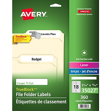Avery® 35027 Étiquettes de classement très grandes TrueBlock, blanches, laser/jet d'encre, 3-7/16