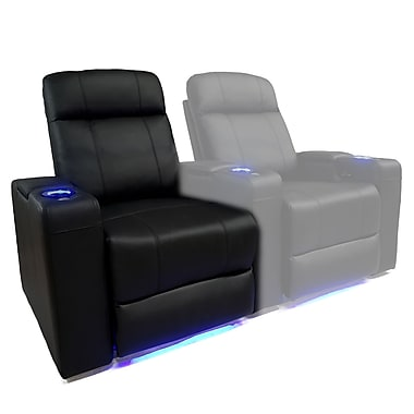 Valencia Seating Piacenza Black Leather Air Manual LED Arm Chair