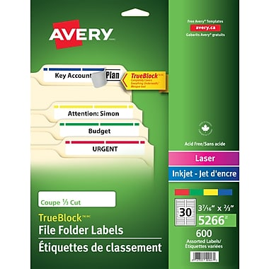 Avery® TrueBlock™ Assorted Colour Laser/Inkjet File Folder Labels, 3-7/16