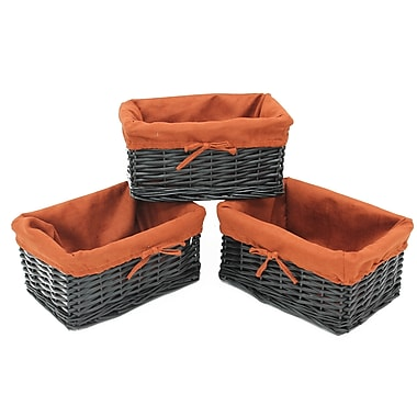 Cathay Importers Willow Basket, Black, 3/Pack