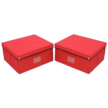 Cathay Importers Snap On Lid Storage Case, Red, 2/Pack (EC-18-0131-A)