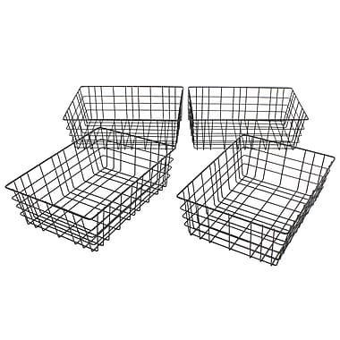 Cathay Importers Wire Rectangle Basket, Black, 4/Pack (EC-10-2324)