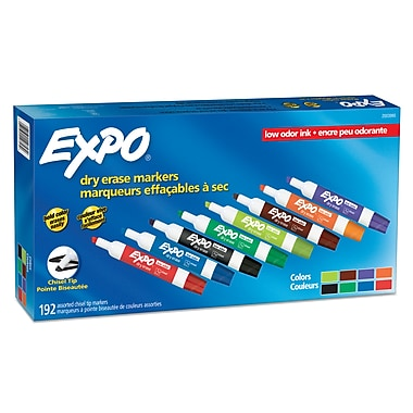Expo® – Marqueurs à effacement sec à faible odeur, pointe biseautée, couleurs variées, paq./192