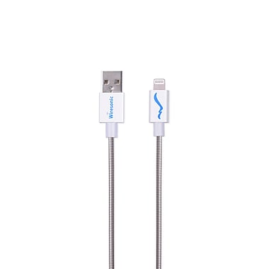 Wiresonic MFI Metallic Lightning to USB Charge Sync Cable 4FT, Silver, (WS-IPUSBM6-SL)