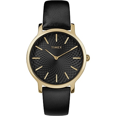 Timex Metropolitan Watch, 34mm, Gold-Tone/Black (TM-TW2R36400ZA)