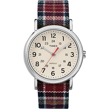 Timex Weekender Watch, 38mm, Silver-Tone/Plaid (TM-TW2R42200ZA)