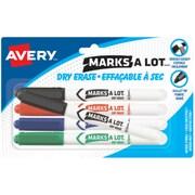 Avery® - Marqueurs à effacement sec Marks-A-Lot, pointe arrondie, couleurs variées, paq./5