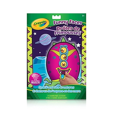 Crayola® Funny Faces Colouring and Sticker Book, Space Creatures and Sea Creatures, 12/Pack