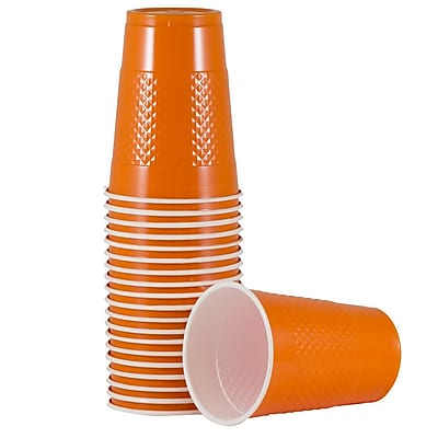 JAM Paper Plastic Cups, 16 oz., Orange, 20/Pack (22555216or) 24295294