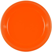 JAM Paper® Round Plastic Party Plates, Large, 10.25, Orange, 20/Pack (10255LPor)