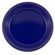 JAM Paper® Round Plastic Party Plates, Large, 10.25, Navy Blue, 20/Pack (10255LPnv)