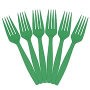 JAM Paper® Big Party Pack of Utensils, Plastic Forks, Green, 100 Disposable Forks/Box (297F100gr)