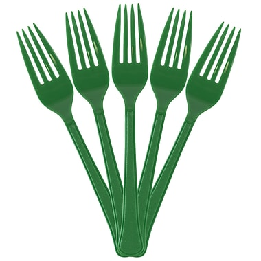 JAM Paper® Premium Utensils Party Pack, Plastic Forks, Green, 48 Disposable Forks/Pack (297F48gr)