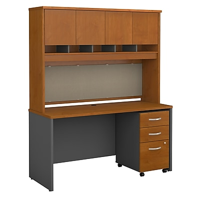 Bush Business Furniture Westfield 60W Office Desk w/ Hutch and Mobile File Cabinet, Natural Cherry, Installed (SRC014NCSUFA)