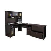 Bush Furniture Cabot L Shaped Desk w/ Hutch and Lateral File Cabinet, Espresso Oak (CAB005EPO)