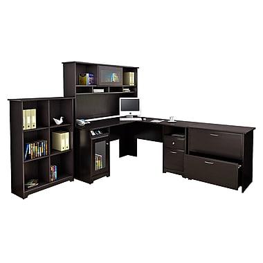 Bush Furniture Cabot L Shaped Desk with Hutch, 6 Cube Organizer and Lateral File Cabinet, Espresso Oak (CAB003EPO)
