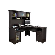 Bush Furniture Cabot L Shaped Desk w/ Hutch, Espresso Oak (CAB001EPO)