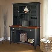 Bush Furniture Stanford Computer Desk with Hutch and Drawers, Antique Black (STF002)