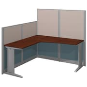 "Bush Business Furniture Office in an Hour 65""W x 65""D L Shaped Cubicle Workstation, Hansen Cherry (WC36494-03K)"