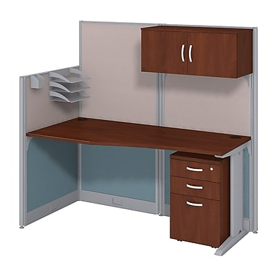 Bush Business Furniture Office in an Hour 65W x 33D Cubicle Workstation with Storage, Hansen Cherry (WC36492-03STGK)