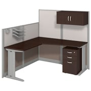 Bush Business Furniture Office in an Hour 65W x 65D L Shaped Cubicle Workstation w/ Storage, Mocha Cherry (WC36894-03STGK)