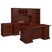 kathy ireland® Office by Bush Business Furniture Bennington Manager's Desk, Credenza with Hutch, Harvest Cherry (BNT002CS)