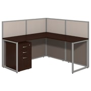 Bush Business Furniture Easy Office 60W L Shaped Desk Open Office with Mobile File Cabinet, Mocha Cherry (EOD360SMR-03K)