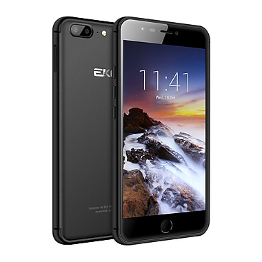 EKO Omega Series 5.5-inch Unlocked Cell Phone, 16 GB, 1.3 GHz MTK6737, Android 7.0, Metal Finish (EDQ55LTEBLK)