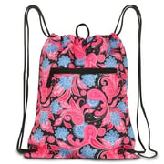 Zodaca Lightweight Sling Drawstring Bag Foldable Backpack Sports Gym Fitness - Pink Paisley