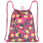 Zodaca Lightweight Sling Drawstring Bag Foldable Backpack Sports Gym Fitness - Pink Yellow Paisley