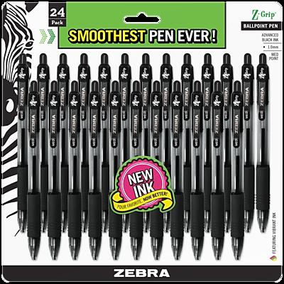 Zebra Pen Z-Grip Retractable Ballpoint Pen, 1.0mm Medium Point, Black 24pk