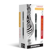 Zebra Pen Sarasa Retractable Gel Pen RDI 0.7mm Medium Point, Assorted 20+4pk BNS Box