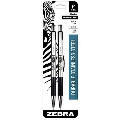 Zebra Pen F-301 Stainless Steel Retractable Ballpoint Pen, 0.7mm Fine Point, Black 2pk