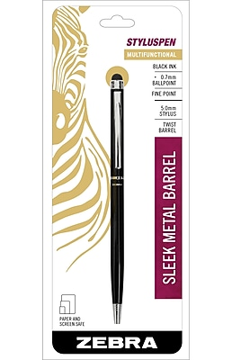 Zebra Pen StylusPen Twist Retractable Ballpoint Pen, 0.7mm Fine Point, Black 1pk