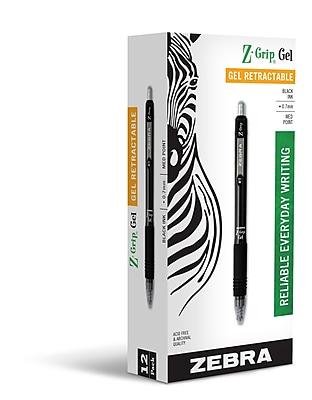 Zebra Pen Z-Grip Retractable Gel Pen 0.7mm Black Dozen