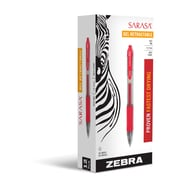 Zebra Pen Sarasa Retractable Gel Pen, 0.7mm Medium Point, Red Dozen