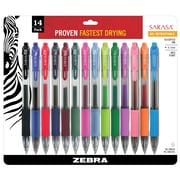 Zebra Pen Sarasa Retractable Gel Pen RDI 0.7mm Medium Point, Assorted 14pk