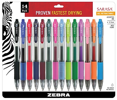 Zebra Pen Sarasa Rapid Dry Ink Retractable Gel Pens, Medium Point (0.7mm), Assorted, 14/Pk (ZEB 46824)