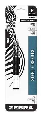 Zebra Pen Refill for F-Series Ballpoint Stainless Steel Pen, F-Refill 0.7mm Fine Point, Black 2pk