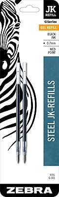 Zebra Pen Refill for G-301 Gel Stainless Steel Pen, JK-Refill 0.7mm Medium Point, Black 2pk (88112)