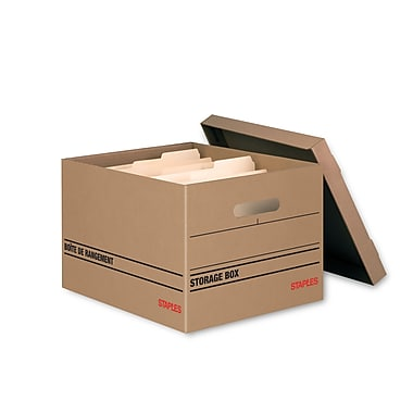 Staples® Basic Duty 100% Recycled Storage Boxes, 4/Pack (1010301)