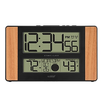 La Crosse Technology Atomic Digital Clock with Temperature and Moon Phase, Oak finish (513-1417) (2589343) photo