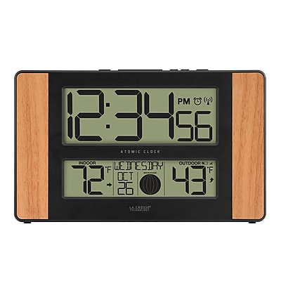 La Crosse Technology Atomic Digital Clock with Temperature and Moon Phase, Oak finish (513-1417)